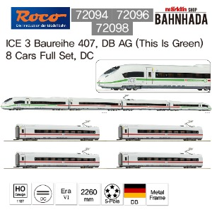 ROCO 72094+72096+72098 ICE 3 Baureihe 407, DB AG (This Is Green)  8 Cars Full Set, DC