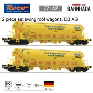 ROCO 67142 2 piece set swing roof wagons, DB AG