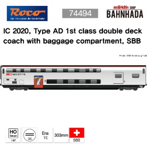 ROCO 74494 IC 2020, Type AD 1st class double deck coach with baggage compartment, SBB