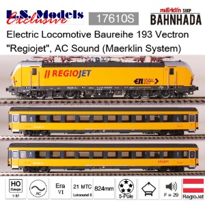 "LSmodels 18500S Electric Locomotive Baureihe 193 Vectron ""Regiojet"", AC Sound (Maerklin System)"