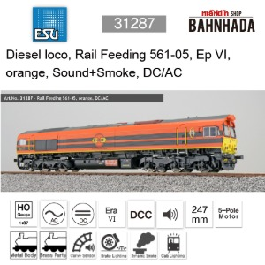 ESU 31287 Diesel loco, Rail Feeding 561-05, Ep VI, orange, Sound+Smoke, DC/AC