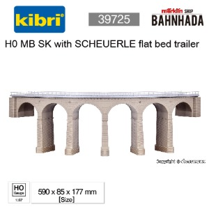 KIBRI 39725 H0 Riedberg-viaduct with ice breaking pillars curved, single track