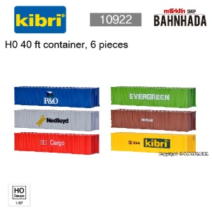 KIBRI 10922 H0 40 ft container, 6 pieces