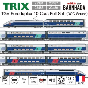 TRIX 22381, 23487, 23488, 23489 EURODUPLEX High Speed Train 10 Cars Full Set (DCC Sound)