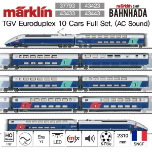 MAERKLIN 37793, 43423, 43433, 43443 EURODUPLEX High Speed Train 10 Cars Full Set