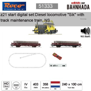 "ROCO HO 51333 z21 start 디지털 스타터 세트: 디젤 기관차 ""Sik"" with track maintenance train, NS"