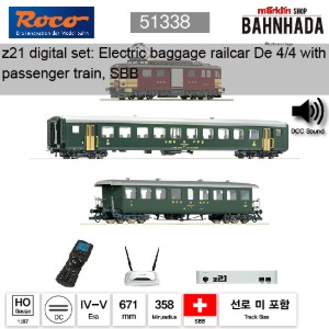 ROCO HO 51338 z21 디지털 스타터 세트: 전기 baggage railcar De 4/4 with passenger train, SBB