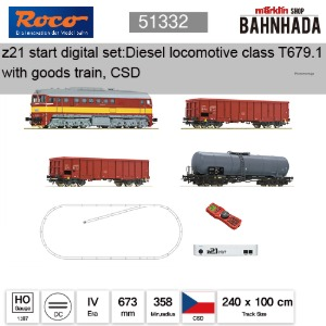 ROCO HO 51332 z21 start 디지털 스타터 세트: 디젤 기관차 class T679.1 with goods train, CSD