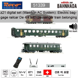 ROCO HO 51339 z21 디지털 스타터 세트: 전기 baggage railcar De 4/4 with passenger train belonging to the SBB