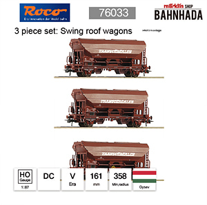 ROCO HO 76033 3 piece set: Swing roof wagons DC