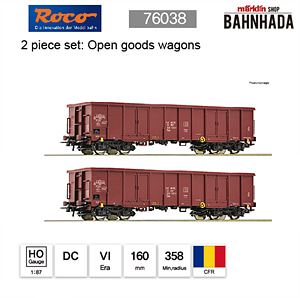 ROCO HO 76038 2 piece set: Open goods wagons DC