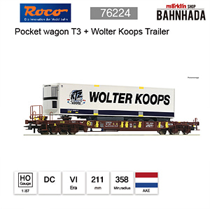 ROCO HO 76224 Pocket wagon T3 + Wolter Koops Trailer DC