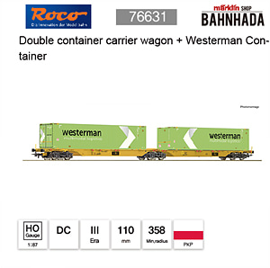 ROCO HO 76631 Double container carrier wagon + Westerman Container DC