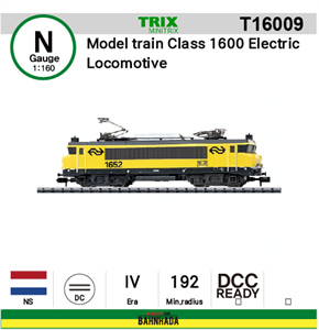 minitrix N T16009 Model train Class 1600 Electric Locomotive DCC Ready